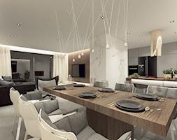 DOM WROCŁAW OPORÓW - Duża otwarta biała jadalnia w kuchni w salonie, styl nowoczesny - zdjęcie od INSPIRED DESIGN