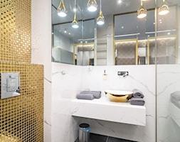 Apartamą Wrocław - Mała biała łazienka na poddaszu w bloku w domu jednorodzinnym bez okna, styl nowoczesny - zdjęcie od INSPIRED DESIGN