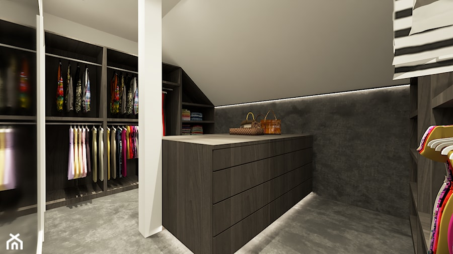 DOM WROCŁAW OPORÓW - Średnia zamknięta garderoba na poddaszu oddzielne pomieszczenie, styl nowoczesny - zdjęcie od INSPIRED DESIGN