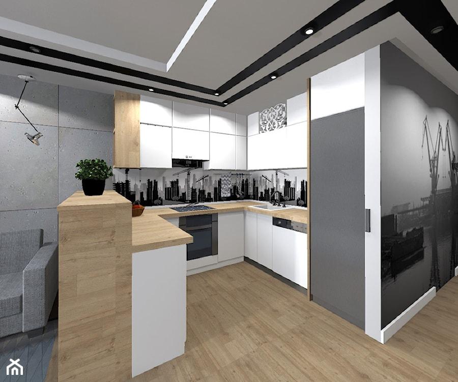 Mieszkanie z betonem w tle  Kuchnia, styl nowoczesny