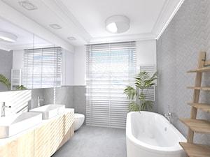 Dom w Sieradzu-02 - Średnia biała łazienka w bloku w domu jednorodzinnym z oknem, styl nowoczesny - zdjęcie od Atelier58