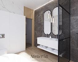 Dom pod lasem Ostrowiec Świętokrzyski - Średnia biała łazienka w bloku w domu jednorodzinnym bez okna, styl nowoczesny - zdjęcie od Atelier58