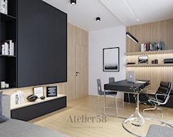 Dom pod lasem Ostrowiec Świętokrzyski - Średnie białe biuro domowe kącik do pracy w pokoju, styl minimalistyczny - zdjęcie od Atelier58