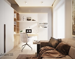 Dom w Kielcach - Średnie beżowe szare białe biuro kącik do pracy w pokoju, styl minimalistyczny - zdjęcie od Atelier58