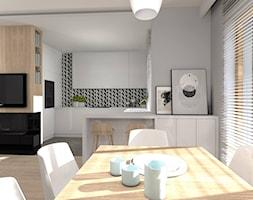 Dom w Sieradzu- 03 - Średnia otwarta szara kuchnia w kształcie litery g w aneksie z oknem, styl minimalistyczny - zdjęcie od Atelier58