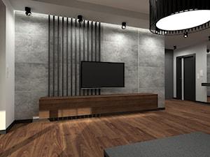 Nowoczesny parterowy dom - Duży szary biały salon z tarasem / balkonem, styl minimalistyczny - zdjęcie od Miliart Studio
