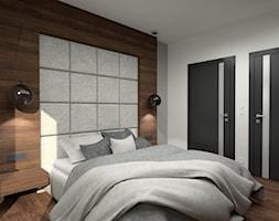 Nowoczesny parterowy dom - Średnia biała szara sypialnia małżeńska, styl minimalistyczny - zdjęcie od Miliart Studio