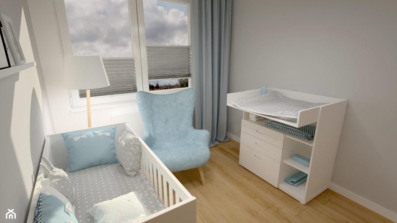 Klimatyczne mieszkanie w bloku z wielkiej płyty - Mały szary pokój dziecka dla chłopca dla niemowlaka, styl skandynawski - zdjęcie od Miliart Studio - Homebook
