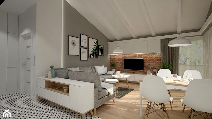 Mieszkanie na poddaszu w stylu skandynawskim - Średni szary biały salon z jadalnią, styl skandynawski - zdjęcie od Miliart Studio