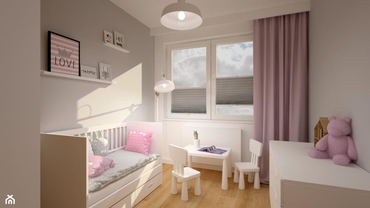 Klimatyczne mieszkanie w bloku z wielkiej płyty - Mały biały szary pokój dziecka dla dziewczynki dla ... - zdjęcie od Miliart Studio - Homebook