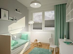 Klimatyczne mieszkanie w bloku z wielkiej płyty - Mały biały szary pokój dziecka dla chłopca dla dziewczynki dla ucznia dla malucha, styl skandynawski - zdjęcie od Miliart Studio