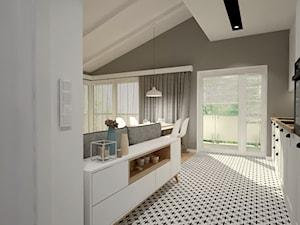 Mieszkanie na poddaszu w stylu skandynawskim - Duża otwarta biała szara kuchnia dwurzędowa z oknem, styl skandynawski - zdjęcie od Miliart Studio