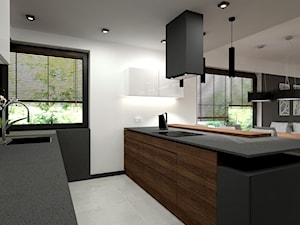 Nowoczesny parterowy dom - Średnia otwarta biała czarna kuchnia dwurzędowa w aneksie z oknem, styl minimalistyczny - zdjęcie od Miliart Studio