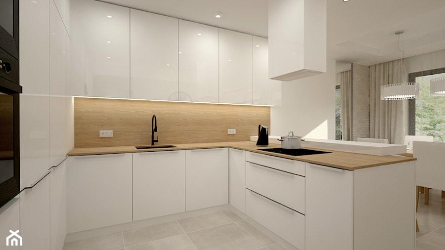 Dom w jasnych barwach - Średnia otwarta biała kuchnia w kształcie litery u z oknem, styl nowoczesny - zdjęcie od Miliart Studio