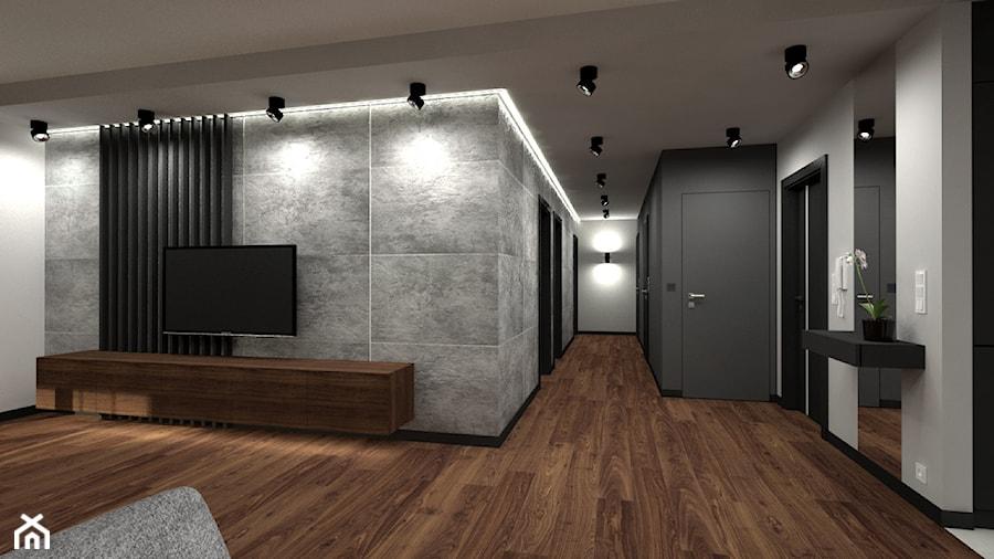 Nowoczesny parterowy dom - Średni szary biały salon, styl minimalistyczny - zdjęcie od Miliart Studio