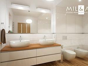 Dom jednorodzinny w Lublinie - Duża biała łazienka z oknem, styl nowoczesny - zdjęcie od Miliart Studio