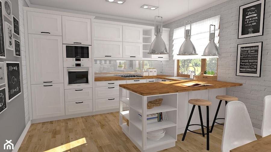 Kuchnia Retro Duża Otwarta Biała Kuchnia W Kształcie