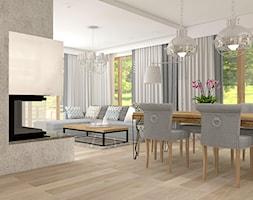 Projekt parteru w domu jednorodzinnym - Duża otwarta jadalnia w salonie, styl vintage - zdjęcie od Atelier Art&Design