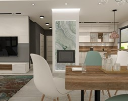 Aranżacja kuchni i salonu w domu jednorodzinnym - Średnia otwarta biała jadalnia w salonie, styl nowoczesny - zdjęcie od Atelier Art&Design