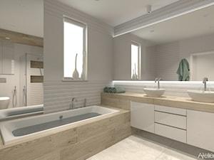 Salon kapielowy - Duża biała łazienka w domu jednorodzinnym z oknem, styl nowoczesny - zdjęcie od Atelier Art&Design