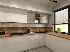 Aranżacja kuchni i salonu w domu jednorodzinnym - Średnia biała kuchnia w kształcie litery l, styl nowoczesny - zdjęcie od Atelier Art&Design