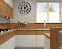 Kuchnia w domu jednorodzinnym - Duża otwarta szara kuchnia w kształcie litery l z wyspą z oknem, styl nowoczesny - zdjęcie od Atelier Art&Design