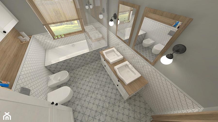 Projekt parteru w domu jednorodzinnym - Średnia biała szara łazienka w domu jednorodzinnym z oknem, styl vintage - zdjęcie od Atelier Art&Design