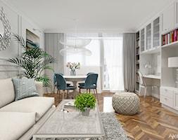 Aranżacja Salonu - Średni biały salon z jadalnią z tarasem / balkonem, styl klasyczny - zdjęcie od Atelier Art&Design - Homebook