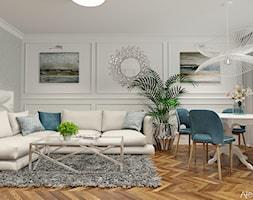 Aranżacja Salonu - Średni szary biały salon z jadalnią, styl klasyczny - zdjęcie od Atelier Art&Design - Homebook