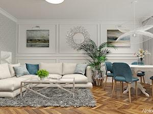 Aranżacja Salonu - Średni szary biały salon z jadalnią, styl klasyczny - zdjęcie od Atelier Art&Design