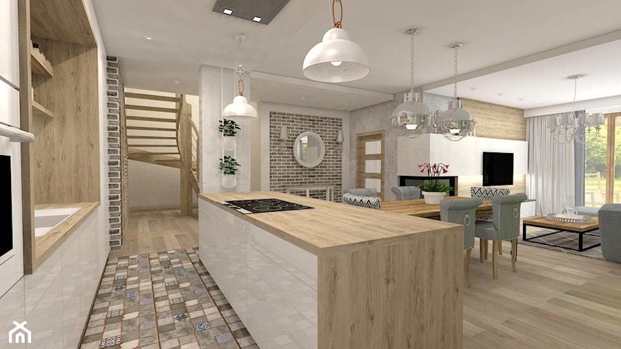 Projekt parteru w domu jednorodzinnym - Średnia otwarta biała beżowa kuchnia dwurzędowa z wyspą, styl nowoczesny - zdjęcie od Atelier Art&Design