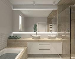 Salon kapielowy - Średnia biała łazienka w bloku w domu jednorodzinnym z oknem, styl nowoczesny - zdjęcie od Atelier Art&Design