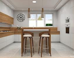 Kuchnia w domu jednorodzinnym - Średnia otwarta szara kuchnia w kształcie litery u z wyspą z oknem, styl nowoczesny - zdjęcie od Atelier Art&Design