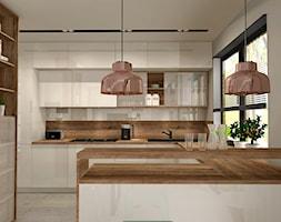 Aranżacja kuchni i salonu w domu jednorodzinnym - Duża otwarta kuchnia w kształcie litery g, styl n ... - zdjęcie od Atelier Art&Design - Homebook