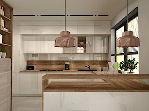 Aranżacja kuchni i salonu w domu jednorodzinnym - Duża otwarta kuchnia w kształcie litery g, styl nowoczesny - zdjęcie od Atelier Art&Design
