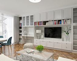 Aranżacja Salonu - Średni biały salon z bibiloteczką z jadalnią, styl klasyczny - zdjęcie od Atelier Art&Design - Homebook