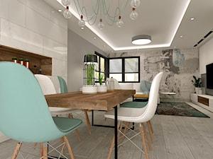 Aranżacja kuchni i salonu w domu jednorodzinnym - Duża otwarta biała jadalnia w salonie, styl nowoczesny - zdjęcie od Atelier Art&Design