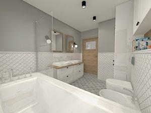 Projekt parteru w domu jednorodzinnym - Średnia szara łazienka z oknem, styl vintage - zdjęcie od Atelier Art&Design