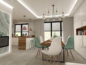 Aranżacja kuchni i salonu w domu jednorodzinnym - Średnia otwarta szara jadalnia jako osobne pomieszczenie, styl nowoczesny - zdjęcie od Atelier Art&Design