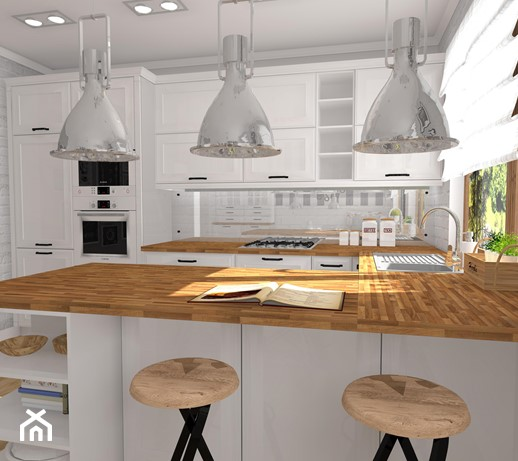 Kuchnia Retro Duża Otwarta Kuchnia W Kształcie Litery U W