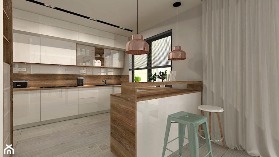 Aranżacja kuchni i salonu w domu jednorodzinnym - Średnia otwarta biała szara kuchnia w kształcie litery u z wyspą, styl nowoczesny - zdjęcie od Atelier Art&Design