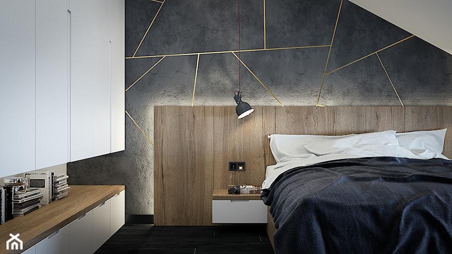 Męskie wnętrze 90m2 - Średnia sypialnia małżeńska na poddaszu, styl nowoczesny - zdjęcie od DEDEKO