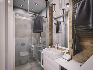 Mieszkanie os. Wilno - Średnia łazienka w bloku w domu jednorodzinnym bez okna, styl nowoczesny - zdjęcie od DEDEKO