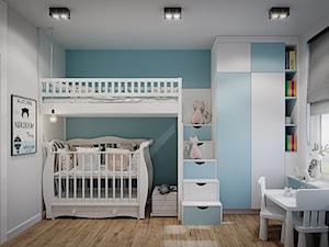 Mieszkanie os. Wilno - Średni biały szary niebieski pokój dziecka dla chłopca dla dziewczynki dla rodzeństwa dla ucznia dla niemowlaka dla malucha, styl nowoczesny - zdjęcie od DEDEKO