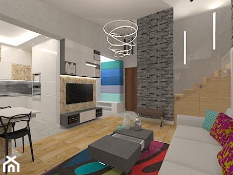 Aranżacje wnętrz - Salon: Penthouse w nowoczesnym stylu - Średni szary salon z kuchnią z jadalnią, styl nowoczesny - MyWay Design. Przeglądaj, dodawaj i zapisuj najlepsze zdjęcia, pomysły i inspiracje designerskie. W bazie mamy już prawie milion fotografii!