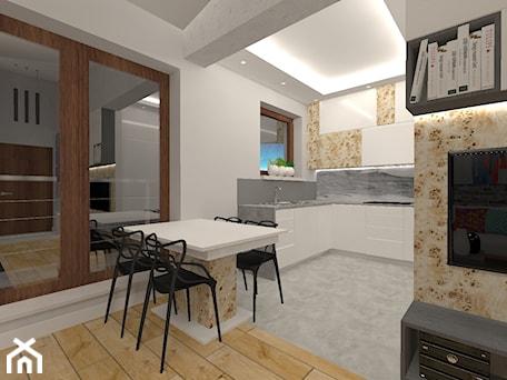 Aranżacje wnętrz - Jadalnia: Penthouse w nowoczesnym stylu - Mała otwarta biała jadalnia w kuchni, styl nowoczesny - MyWay Design. Przeglądaj, dodawaj i zapisuj najlepsze zdjęcia, pomysły i inspiracje designerskie. W bazie mamy już prawie milion fotografii!