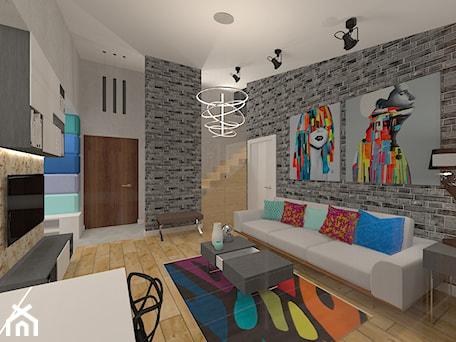 Aranżacje wnętrz - Salon: Penthouse w nowoczesnym stylu - Mały szary salon z jadalnią, styl nowoczesny - MyWay Design. Przeglądaj, dodawaj i zapisuj najlepsze zdjęcia, pomysły i inspiracje designerskie. W bazie mamy już prawie milion fotografii!