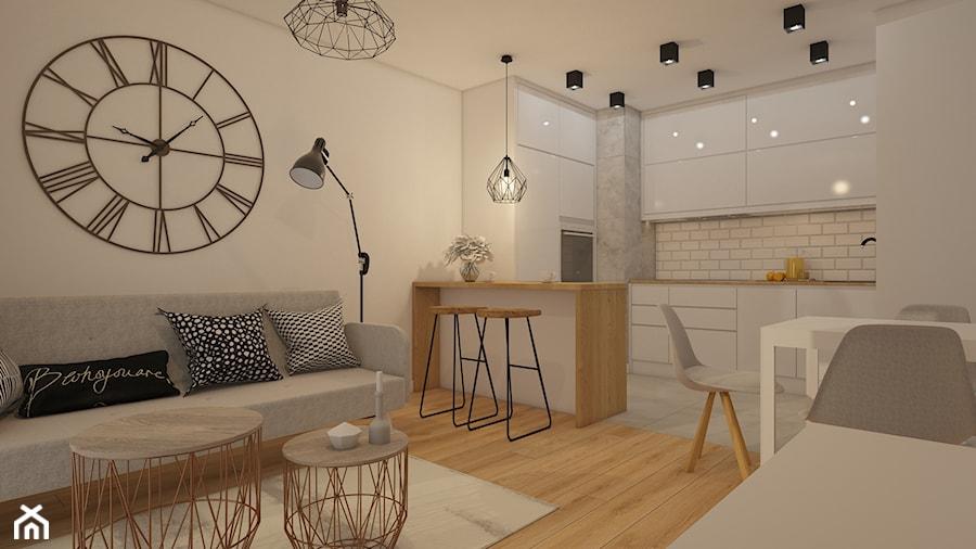 Aranżacje wnętrz - Salon: projekt mieszkania w skandynawskim stylu - Średni beżowy salon z kuchnią z jadalnią, styl skandynawski - MyWay Design. Przeglądaj, dodawaj i zapisuj najlepsze zdjęcia, pomysły i inspiracje designerskie. W bazie mamy już prawie milion fotografii!