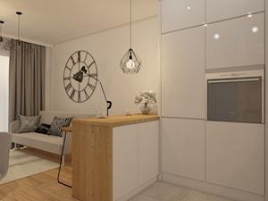 projekt mieszkania w skandynawskim stylu - Mała otwarta szara kuchnia w kształcie litery u w aneksie z oknem, styl skandynawski - zdjęcie od MyWay Design