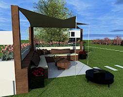 Projekt ogrodu w Sarnowie - Duży ogród za domem z parasolem, styl nowoczesny - zdjęcie od Hirszberg Pracownia Architektoniczna